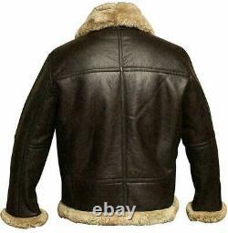 Raf Aviator Mens B3 Bomber Pilot Flying Fur Collar Real Buffalo Leather Jacket