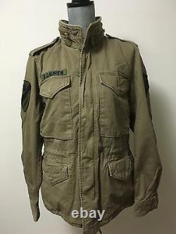 Ralph Lauren Denim & Supply Men Skull Patched Military Field Jacket Khaki Sz XL