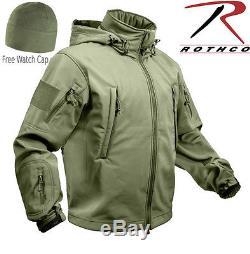 Rothco 9745 Veste Softshell Tactique Special Ops Imperméable Avec Capuchon De Montre Olive