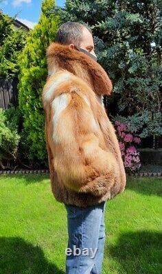Rouge Fox Fur Jacket Homme Taille De Manteau 2xl Real Véritable 100% Naturel Nouveau