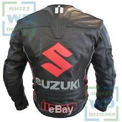 Suzuki Icon 4269 Hand Made Noir Cuir De Vache Veste Motard Manteau Moto