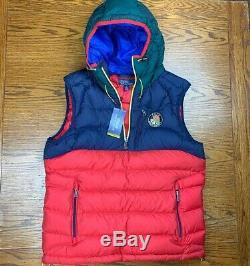 Tn-o Polo Ralph Lauren Capuche Downhill Skieur Cookie Puffer Vest Jacket New L