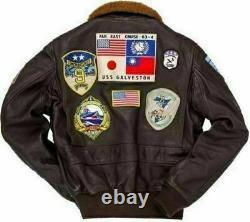Tom Cruise Top Gun Peter Maverick Bomber Fur Collar Aviator Veste En Cuir Hommes