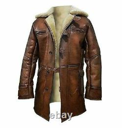Tom Hardy Bane Dark Knight Rises Real Leather Faux Fur Coat Jacket Pour Hommes