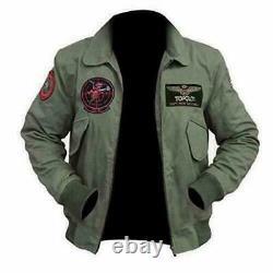 Top Gun 2 Maverick Mens Jet Pilot Jacket Tom Cruise Flight Bomber Jacket Xxs-4xl