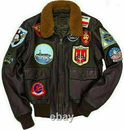 Top Gun Tom Cruise Peter Maverick Aviator Bomber Fur Brown Veste En Cuir Hommes