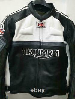 Triumph Moto Moto Moto Cowhide En Cuir Bikers Veste De Sport