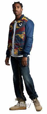 True Religion Bomber Mesh Homme Veste Primaire Camo / Ace Bleu