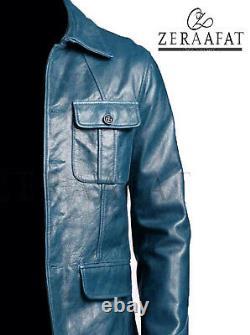 Veste De Manteau Blazer Pour Homme Cuir D'oiepskin 100% Cuir Véritable Par Zeraafat