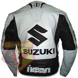 Veste De Moto En Cuir De Vache Blindé Noir Et Blanc Pour Suzuki 4269
