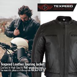 Veste De Moto En Cuir Touring With Genuine Ce Armour Biker Thermal
