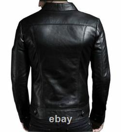 Veste De Moto En Cuir Véritable D'agneau Pour Hommes Slim Fit Biker Jacket