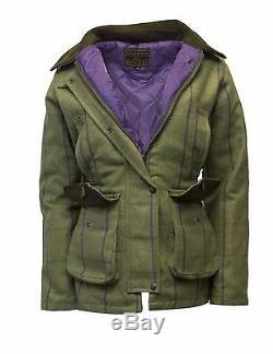 Veste De Survêtement Tweed Country Derby Tweed Pour Femmes Walker & Hawkes Purple Stripe
