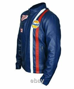 Veste En Cuir Bleu Le Mans Steve Mcqueen