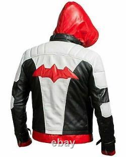 Veste En Cuir De Capuche Rouge & Veste Batman Arkham Knight Costume De Jeu