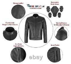 Veste En Cuir De Moto Avec Protection D'armures Veste En Cuir De Moto