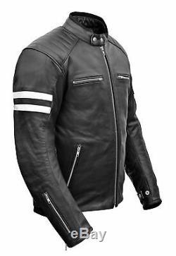 Veste En Cuir De Moto De Moto De Style Brando Pour Hommes Avec Armures Amovibles De La Ce