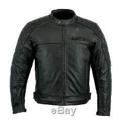 Veste En Cuir De Moto Noire En Cuir Véritable, Moto Cousue, Armure Ce