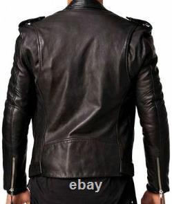 Veste En Cuir Pour Homme Noir Slim Fit Biker Veste D'agneau Véritable