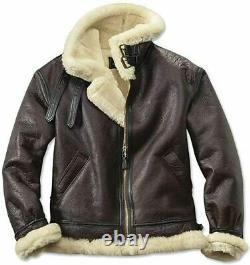 Veste En Cuir Pour Hommes Raf B3 Bomber Flight Aviator Fur Sheepskin