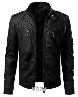 Veste En Cuir Real Homme Retro Black Slim Fit Biker Jacket
