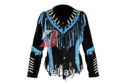 Veste En Cuir Suede Western Femmes Avec Fringe, Bone & Studs Native American Coat