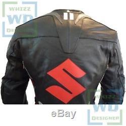 Veste En Cuir Suzuki 4269 Black En Cuir De Vachette Racing Moto Blouson En Cuir