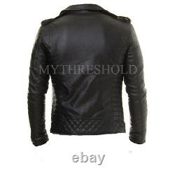 Veste En Cuir Véritable Lambskin Homme Moto Black Slim Fit Veste Biker