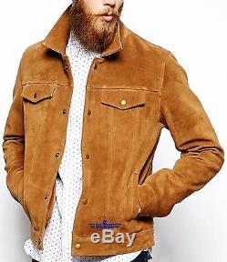 Veste En Cuir Véritable Peau De Camouflage Pour Hommes Trucker Beige Rétro En Daim Rétro Style Western