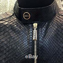 Veste En Peau De Serpent Véritable Sur Mesure En Cuir De Python Noir Véritable Pour Hommes De Zilli
