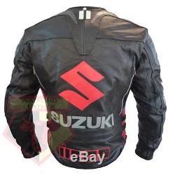 Veste Motard Blindée Suzuki 4269 En Cuir De Vachette Noir En Cuir Pour Moto