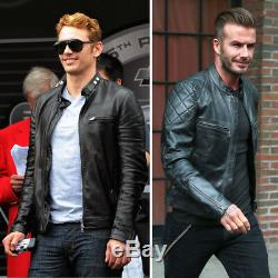 Veste Motard En Cuir Véritable Noir David Beckham Pour Hommes Vintage Cafe Racer Slim Fit