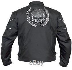 Veste Motard Moto En Cuir Noir Textile Blindé Crâne