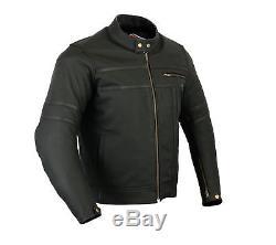 Veste Moto / Moto Neuve Bicolore En Cuir Noir Et Mat Pour Homme