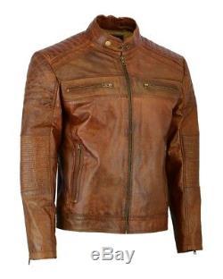 Veste Slim Fit En Cuir Véritable Biker En Cuir Véritable Mens Vintage Cafe Racer