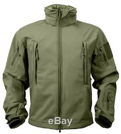 Veste Tactique Soft Shell Olive Imperméable Coupe-vent Respirante Rothco 9745