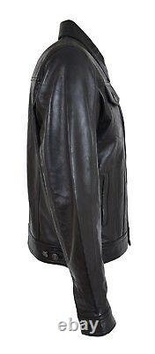 Veste Trucker En Cuir Souple Homme Black American Western Denim Levi Style Coat
