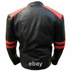 Vestes En Cuir Homme Soft Biker-style Moto Classic Design Rouge Et Noir Vintage