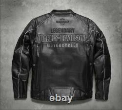 Victoria Lane Noir Harley Davidson Biker Veste En Cuir Pour Hommes