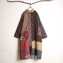 Vieilles Femmes Qipao Chinese Bouton Traditionnel Floral Longues Manteaux Matelassé Vestes