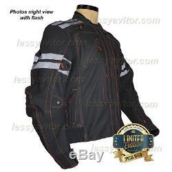 Vulcan Vtz 910 Moto Jacket Mens Premium Cuir Noir Armored Imperméable